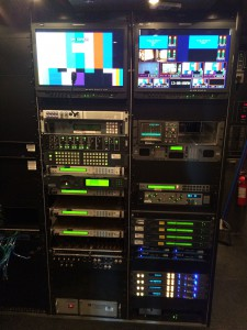 PSSI's bus is equipped with full production and satellite uplink gear.