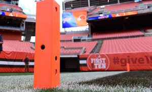 A custom-molded goal-line pylon features a 1080p camera and breakaway wiring.
