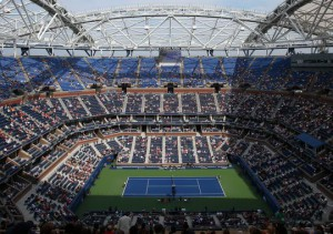 The superstructure for the roof diminished the wind effect in Arthur Ashe Stadium.