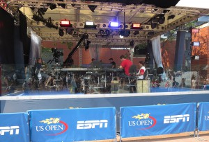 ESPN's primary set at the US Open near the fountains.