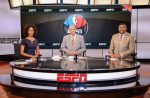 From left: Sage Steele, Doug Collins, and Jalen Rose on the NBA Countdown set