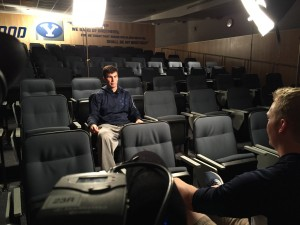 The BYUtv Sports crew shoots interviews with coaches and players throughout the week.