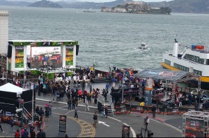 The NBA on TNT studio set and fan activation area at San Francisco's Pier 43