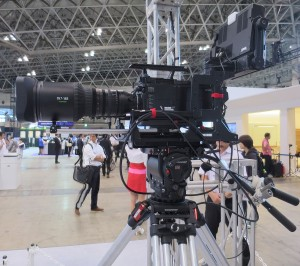 Hitachi's SK-UHD8060 8K camera on display at NHK's booth at the CEATEC Show this month