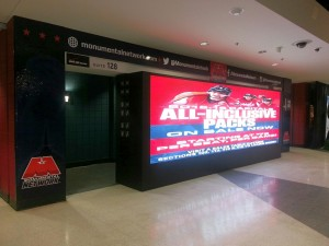 """The """"Monumental Vision"""" video wall at the F Street entrance to Verizon Center"""