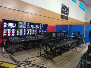 In lieu of a traditional production truck, ESPN has erected a flypack control room designed by VER.
