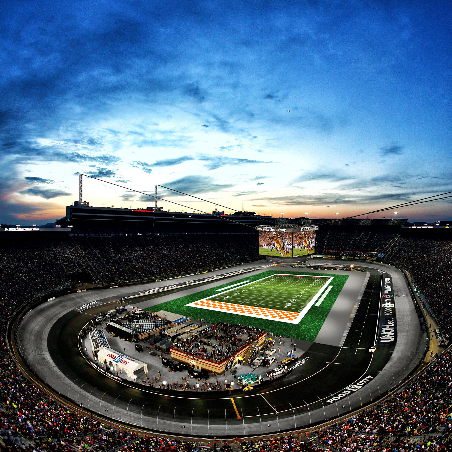 A rendering of Bristol Motor Speedway with football field. BMS will host the Battle at