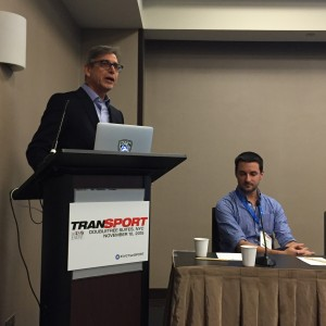 Pac-12's Michael Harabin (left) and Scott Adametz during the TranSPORT keynote presentation.