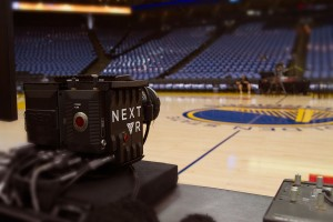 This NextVR RED camera rig sat courtside at Oracle Arena and provided the primary angle for the Warriors-Pelicans live-streamed VR production.