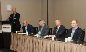 SVG's Ken Kerschabumer (far left) moderated the panel focused on UHD Delivery to the Home at TranSPORT 2015.