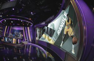 The Leyard USA LED display follows the 3-degree arc of TWC SportsNet's upgraded studio.