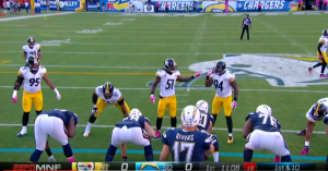Sportvision's 1st-and-Ten line appears on the Spidercam on ESPN's Monday Night Football
